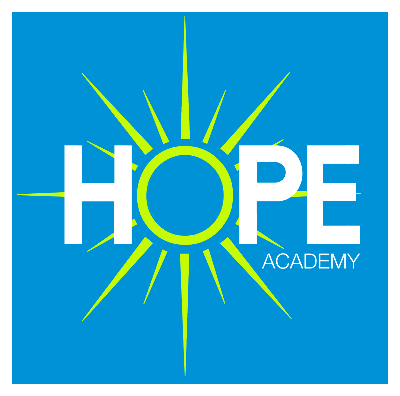 Picture of the word HOPE with the O as a sun and Academy. Old logo.