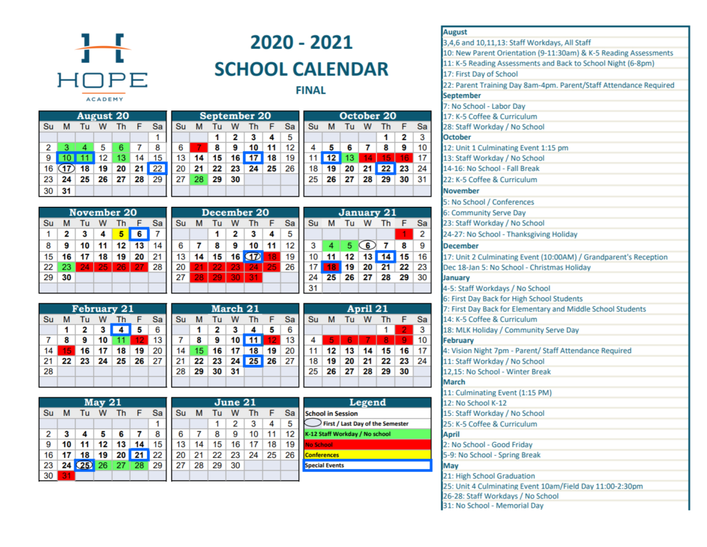 Image of School Calendar with important dates.