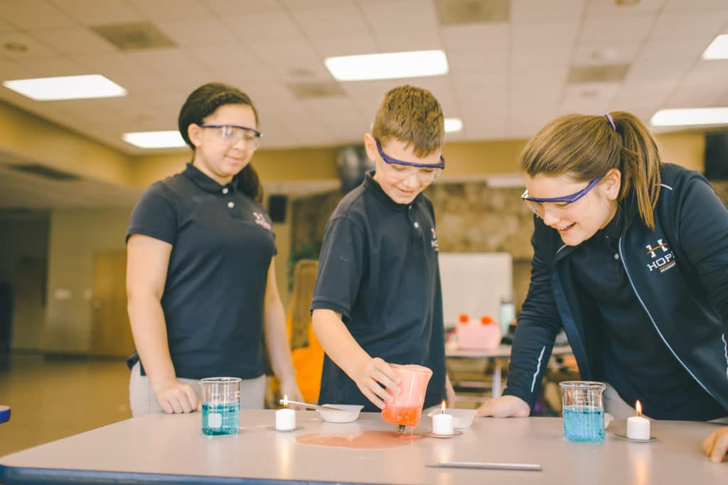 Hope Academy Students Doing Experiment