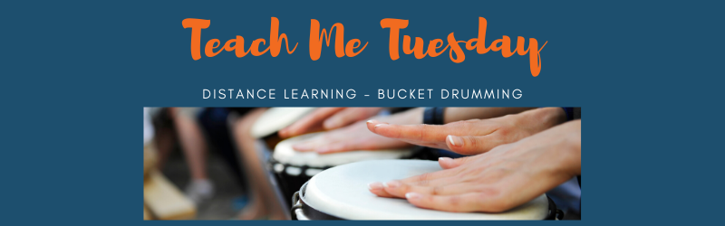 TEach Me Tuesday- Distance Learning - Bucket Drumming and picture of drumming with hands