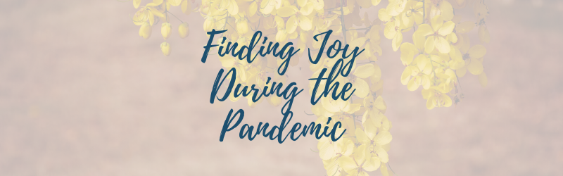 """Yellow flowers with """"Finding Joy During the Pandemic"""""""